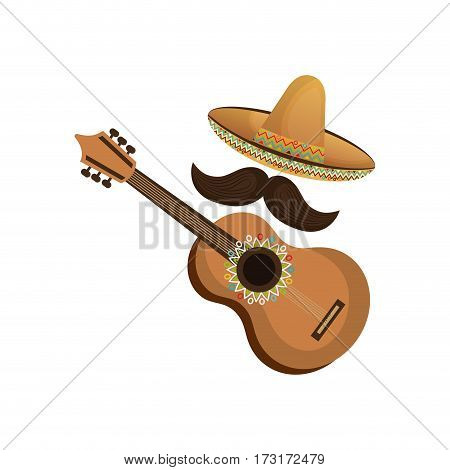colorful acoustic guitar musical with hat and moustache mexican culture vector illustration