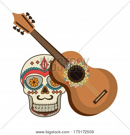 colorful acoustic guitar musical with decorative ornamental sugar skull vector illustration