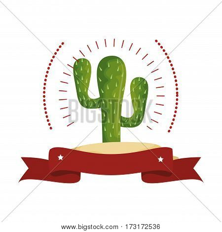 colorful arch wit cactus with thorns and ribbon vector illustration