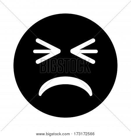 unhappy face emoticon funny pictogram vector illustration eps 10
