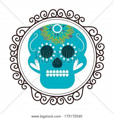 vintage border with decorative ornamental sugar skull vector illustration