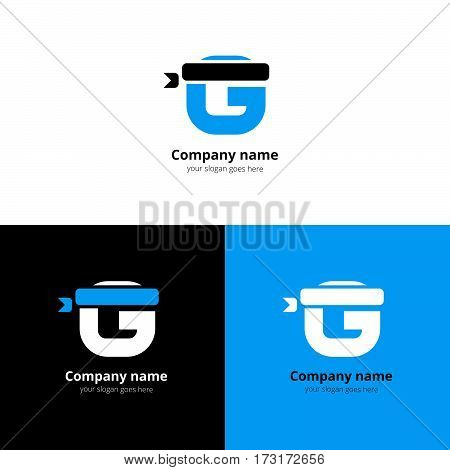 Letter G logo icon with a sport bandage and vector flat design template. Trend blue gradient color on white and black background. Symbol Sport G in vector elements..