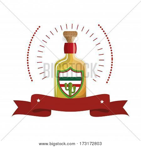 colorful arch bottle of tequila with cork and ribbon vector illustration