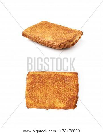 Sweet pastry bun isolated over the white background, set of two different foreshortenings