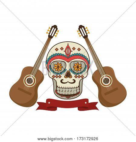 pair acoustic guitar musical with decorative ornamental sugar skull and ribbon vector illustration