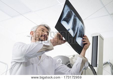 Male Radiologist Analyzing Chest X-ray Report In Examination Roo