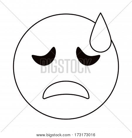crying face emoticon funny thin line vector illustration eps 10