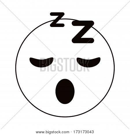 sleepy emoticon funny thin line vector illustration eps 10