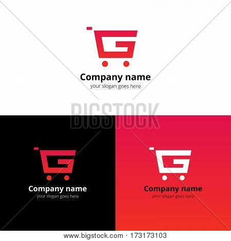 Shop Market Logo, icon. Vector abstract logotype with letter G and flat trend red-pink gradient color template for shopping discount or business company.