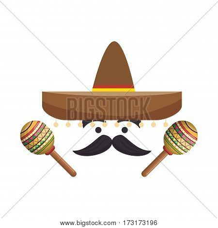 colorful cartoon face with maraca and mexican hat vector illustration