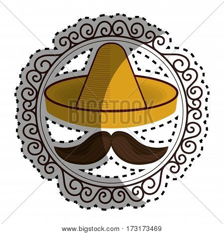 sticker vintage border with hat and moustache mexican culture vector illustration