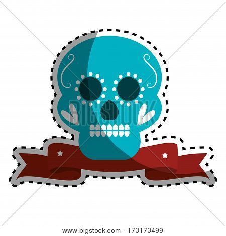 sticker decorative ornamental sugar skull with ribbon vector illustration