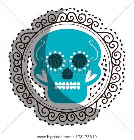 sticker vintage border with decorative ornamental sugar skull vector illustration
