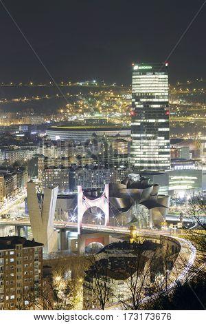 Wonders Of Bilbao At Evening.