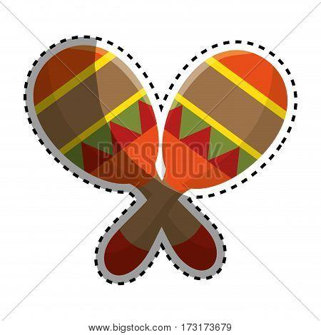 sticker colorful pair mexican maraca instrument icon design vector illustration