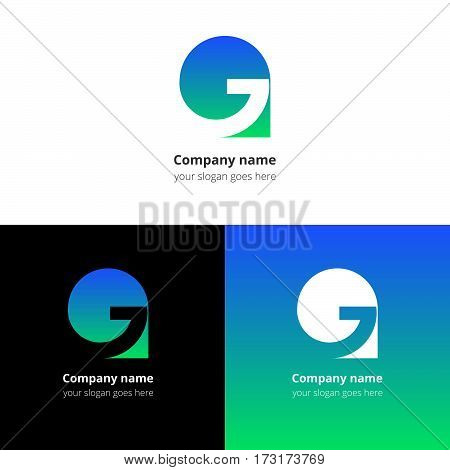 Letter G logo icon flat and vector design template. Trend blue-green gradient color on white and black background. Symbol G in vector elements..