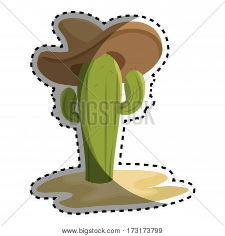 sticker animated sketch cactus with mexican hat in desert vector illustration