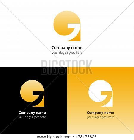 Letter G logo icon flat and vector design template. Trend yellow gradient color on white and black background. Symbol G in vector elements.