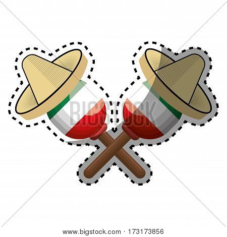 sticker pair mexican maraca instrument with traditional hat vector illustration