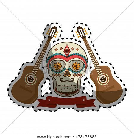 sticker pair acoustic guitar musical with decorative ornamental sugar skull and ribbon vector illustration