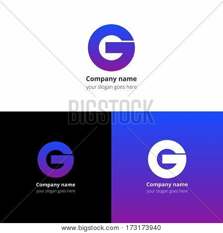 Letter G logo icon flat and vector design template. Trend blue-violet gradient color on white and black background. Bold symbol G.