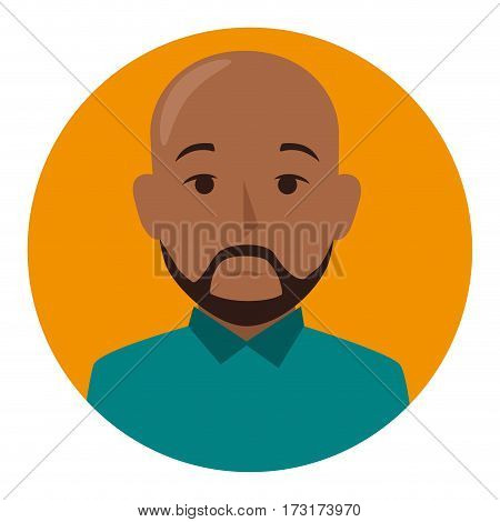 orange sphere of half body brunette bald man with beard vector illustration