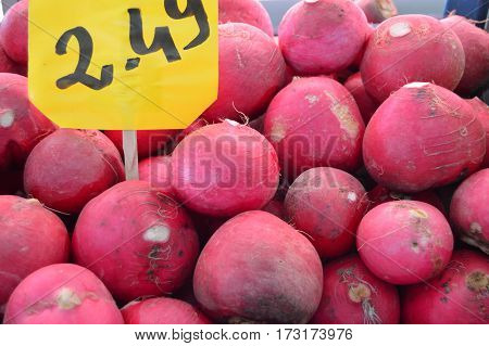 Radish and turnip pictures sold in Greengrocer