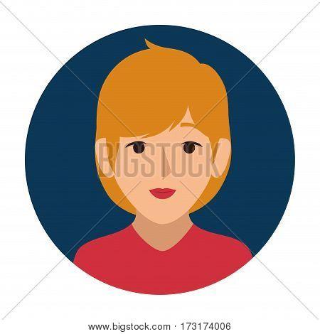 dark blue sphere of half body woman with blond hair vector illustration