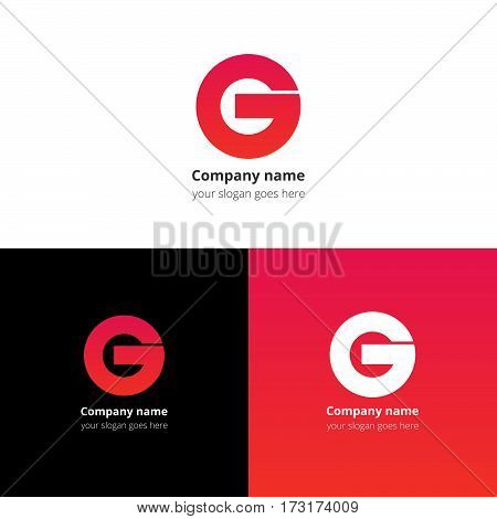 Letter G logo icon flat and vector design template. Trend red-pink gradient color on white and black background. Bold symbol G.