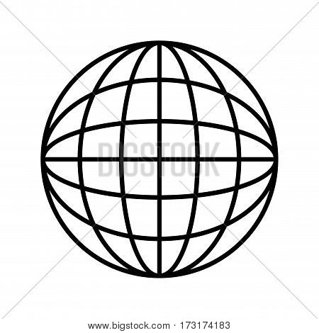 silhouette sphere with lines cartographic vector illustration