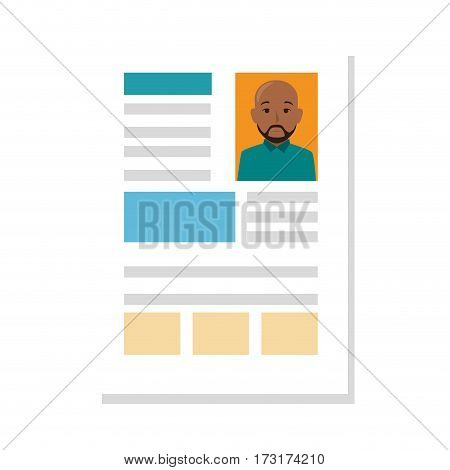 file info with curriculum vitae sheet vector illustration