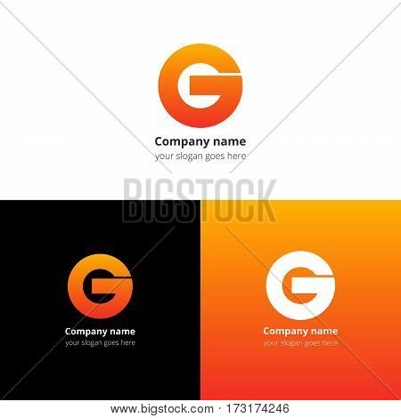 Letter G logo icon flat and vector design template. Trend orange gradient color on white and black background. Bold symbol G.