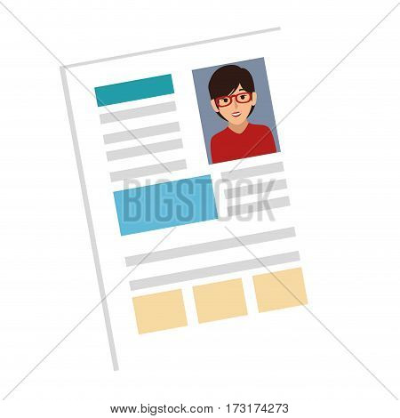 woman file info with curriculum vitae sheet vector illustration