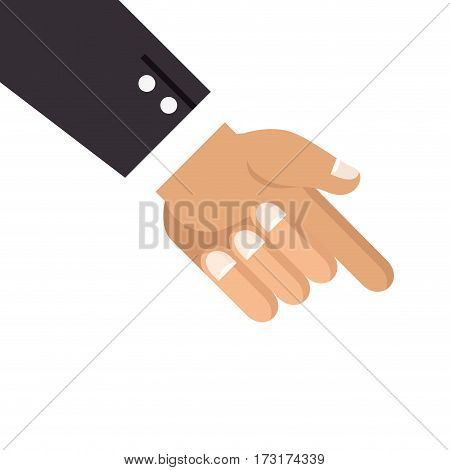 hand with finger pointing down vector illustration