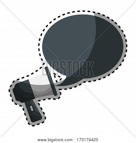 sticker megaphone with bubble callout box vector illustration