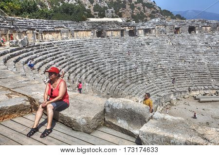 Demre Antalya Turkey - august 28 2014: The ancient town of Myra in Lycia region of Anatolia modern day Turkey boasts a number of breathtaking ruins including Roman theatre on the Demre-plateau.