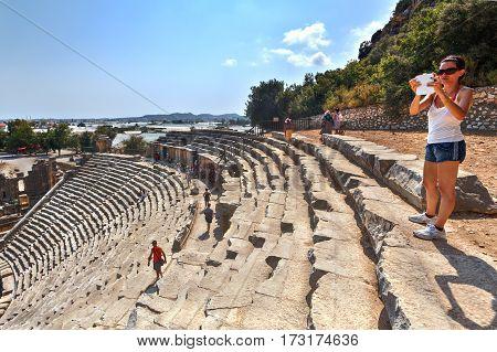 Demre Antalya Turkey - august 28 2014: Roman Theater In Myra Lycia Southern Coast Of Turkey.