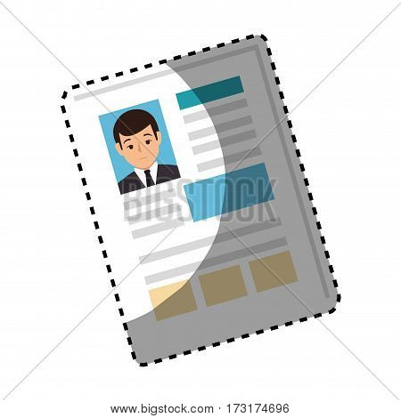 sticker shading side view file info with curriculum vitae sheet vector illustration