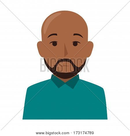 colorful silhouette half body brunette bald man with beard vector illustration