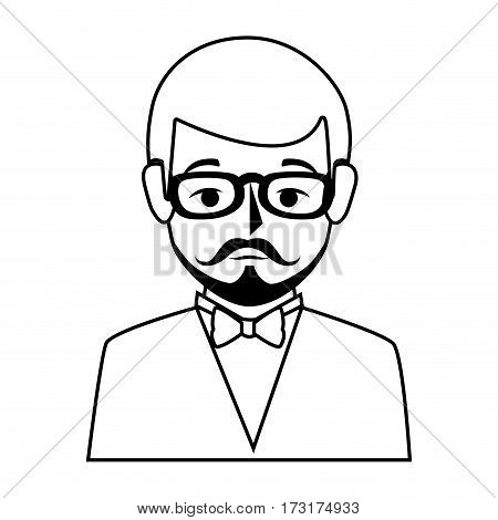 silhouette half body man formal style with mustache vector illustration