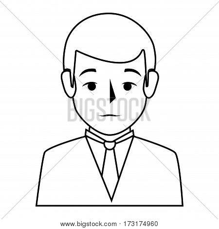silhouette half body man formal style vector illustration