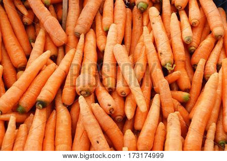 Pictures of organic and healthy carrot on greengrocery
