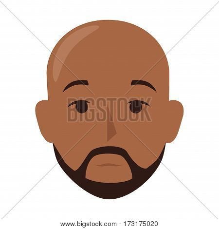 colorful silhouette front view bald man with moustache vector illustration