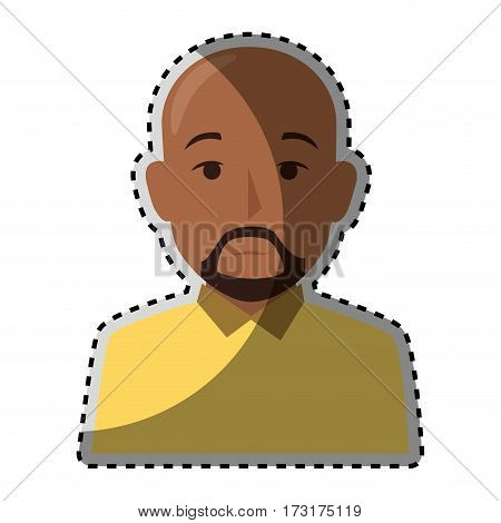 sticker colorful half body brunette bald man with beard vector illustration