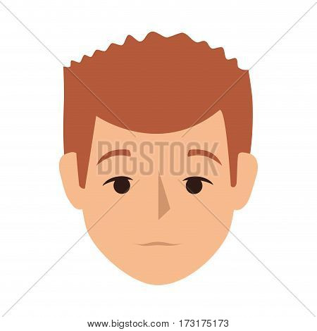 colorful silhouette front view man with redhair vector illustration