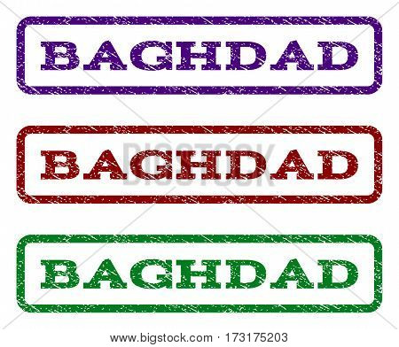 Baghdad watermark stamp. Text caption inside rounded rectangle with grunge design style. Vector variants are indigo blue red green ink colors. Rubber seal stamp with dust texture.
