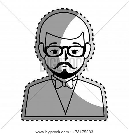 sticker silhouette half body man formal style with mustache vector illustration