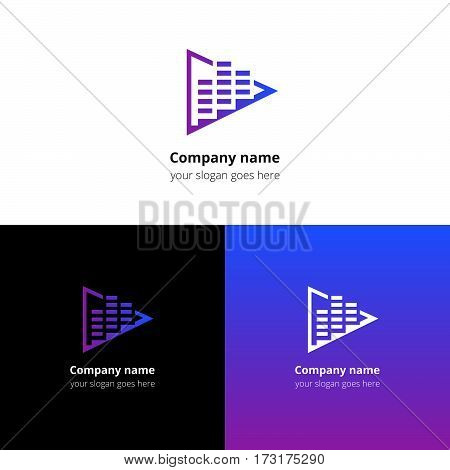Play music sound and equalizer beat flat logo icon vector template. Abstract symbol and button with violet-blue gradient for music service or company.