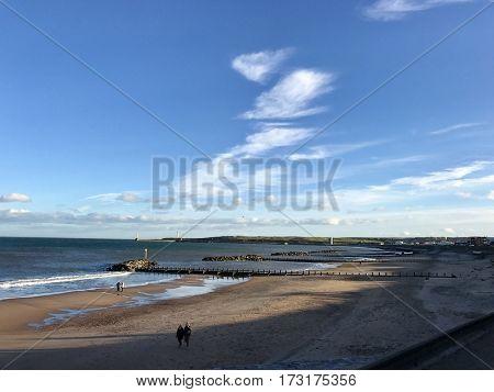 ABERDEEN - FEBRUARY 22, 2017: The beach along the seafront in Aberdeen, Aberdeenshire, Scotland, UK.