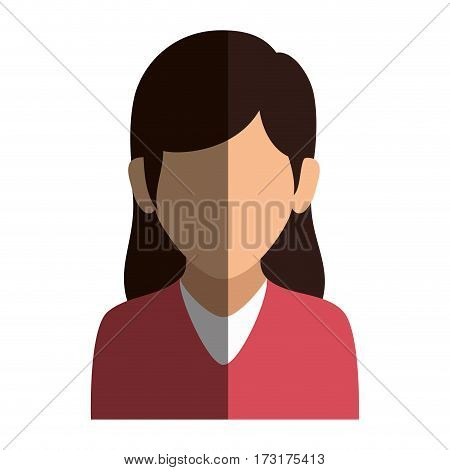 colorful silhouette faceless half body woman with long hair vector illustration